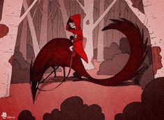 Red Riding Hood riding Art Print