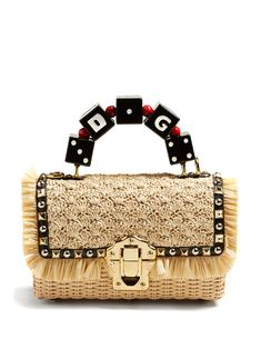 DOLCE & GABBANA | Lucia Braided Raffia Wicker Basket Bag