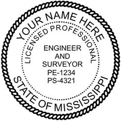 "A #Mississippi #Engineer can use either an embosser or a stamp for their official seal.  Either 1 5/8"" or 2"" diameter seals are acceptable and are fully guaranteed to meet Mississippi's state requirements.  #Free complimentary #eSeal with this item.  This is an example of a #dual licensed #surveyor & engineer #seal."
