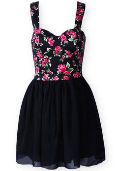 Vestido tirantes gasa estampado flores-Negro                                                                                                                                                                                 Más