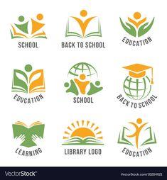 Set of colorful school logos Royalty Free Vector Image - green school - Education Logo Inspiration, Free Vector Images, Vector Free, Library Logo, Education Logo Design, Design Services, Green School, School School, Logo For School