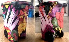 TRASHed At Coachella 2017 : Artist Decorated Recycling Bins! – if it's hip, it's here Recycling Storage, Trash And Recycling Bin, Trash Bins, Wayne Johnson, Trash Art, Video Artist, Rain Barrel, Downtown Los Angeles, Land Art