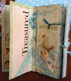 It was with a very heavy heart that I pulled out the Little Darlings paper pad. Heavy Heart, Graphic 45, Picture Books, Little Darlings, Mini Albums, Minis, Journals, Scrapbooking, Paper Crafts
