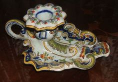 #vintage #ebaysales retro Antique French Fourmaintraux Chamber Candlestick Holder c1885 Faience 19THC Rare Ebay Sale, Vintage Items, Pottery, Tableware, Ceramica, Dinnerware, Pottery Marks, Tablewares, Ceramic Pottery