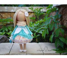 Handmade Art doll blue turquoise blonde Tilda Gift doll House doll Collectable doll Soft doll Decor doll magic by Master Margarita Hilko