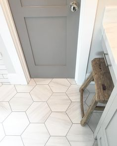 Pin By Cally Burks On Remodel Grey Bathrooms Bathroom Floor Tiles Upstairs Bathrooms, Basement Bathroom, Hexagon Tiles, Hex Tile, Honeycomb Tile, Grey Tiles, Tile Wood, White Tiles, Wall Tile