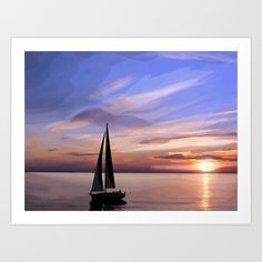 Art Vector Adventure Sailing at sunset Vector drawing dedicated to the sailboat in a wonderful sunset. #adventure #avventura #art #vector #landscape #society6 #s6 #Sailing #sunset