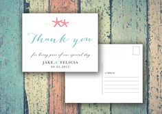 Beach Wedding Thank You folded or flat Cards by SAEdesignstudio