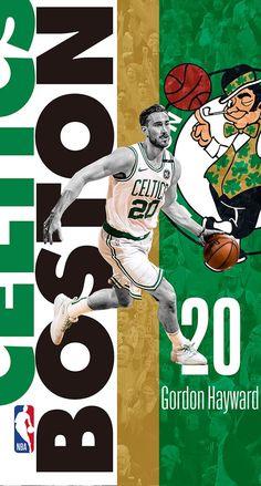 Celtics Basketball, Basketball Posters, Basketball Design, Basketball Art, College Basketball, Celtics Gear, Gordon Hayward, Sports Graphic Design, Anime Characters