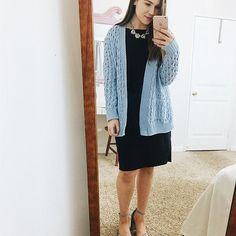 Sorry everyone, I couldn't get an outdoor photo because it's raining so a mirror selfie will have to work for today ♀️ anyways, this blue cable sweater is a great piece to dress up or down. Today for church I paired it with this classic black dress and blue suede heels that's match the color but I'll be showing a casual way to style it tomorrow. And the heels are Steve Madden but I found a PERFECT dupe for only $29.99 if you're wanting a more cost effective pair. Wish I had known about t...