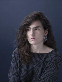 """Carina Shoshtary; """"Medulla 2""""; Earrings, 2014; Cactus, graffiti, silver."""