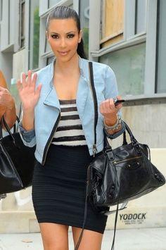Kim Kardashian wearing Yves Saint Laurent Tribute Double Platform Pumps, Balenciaga City Bag in Black, Loren Jewels Bangle with Black Diamonds, Loren Jewels Diamond Bangle and Pleasure Doing Business Six Band Skirt: Black.