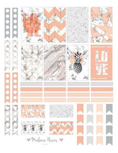 Marble and orange printable planner stickers Sticker Printable, Printable Planner Stickers, Free Planner, Happy Planner, Pink Planner, Glam Planner, Marble Planner, Marble Sticker, Journal Stickers