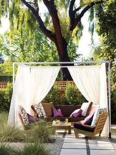 Get inspired with our favorite garden projects: DIY outdoor lighting, patios, paths, fountains, and more that anyone can pull off. Outdoor Cabana, Canopy Outdoor, Outdoor Rooms, Outdoor Lounge, Outdoor Decor, Backyard Cabana, Backyard Retreat, Outdoor Seating, Backyard Patio