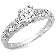 0.60 Carat (ctw) 14K Gold Round Cut Diamond Ladies Bridal Vintage Style Engagement Ring