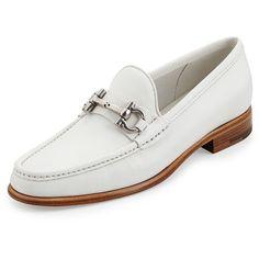 Mason Leather Gancini Loafer, Newsprint by Salvatore Ferragamo at Neiman Marcus. Sock Shoes, Men's Shoes, Shoe Boots, Dress Shoes, Leather Loafer Shoes, Loafers Men, White Shoes, Shoe Collection, Salvatore Ferragamo