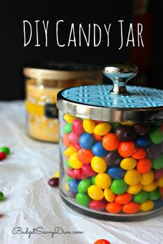 Find out How To Make A DIY Candy Jar by Upcycling Bath & Body Works Jars - Post has FULL instructions but video - perfect for Mother's Day #craft #video #budgetsavvydiva via budgetsavvydiva.com