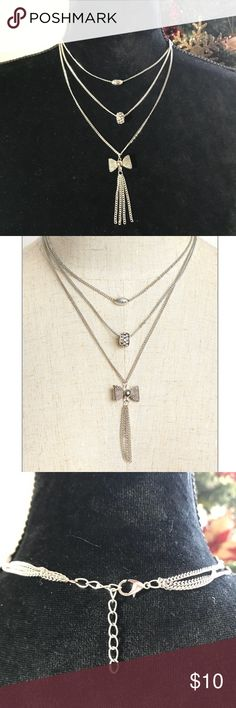 🎄NEW!!! SILVER Layered Bow Necklace New!!! SILVER Layered Bow necklace  ✅adjustable Jewelry Necklaces