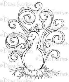 """Available on Etsy. """"Princess Fussyfeather"""" Digi Digital Stamp by Diana Garrison. $3.00"""