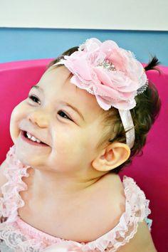 Pink Baby Headband Newborn Photo Prop by SparklesButterflies
