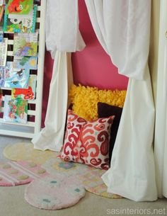 """DIY: 3-in-1 Kids Play Tent created using drapery panels and an easy to install """"cornice"""" at ceiling. Such a fun filled girl room...  A must see!"""