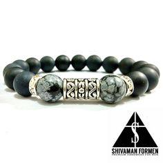 Black Matte Onyx Bracelet Healing Bracelets, Gemstone Bracelets, Metal Bracelets, Bracelets For Men, Mens Silver Necklace, Men Necklace, Rock Watch, Beaded Jewelry, Jewellery