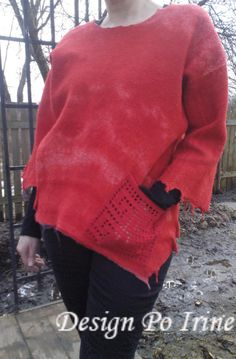 sweatshirt, Shades of red, Nuno felted tunic, OOAK wool, natural silk and A-Grade wool, Nuno felted blouse, cotton felted, Art to Wear Tunic