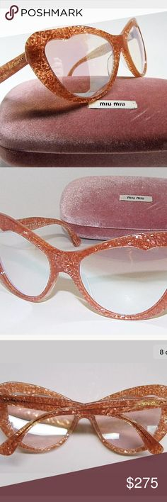 Authentic Miu Miu Orange Glitter Cateye Sunglasses Stylish Authentic Miu Miu SMU 04O KA4-1B2 Orange Glitter Sunglasses   These authentic Miu Miu sunglasses are in excellent condition! Model:  SMU 04O KA4-1B2 Style: Cat-Eye Frame material: Acetate Frame color: Glitter Orange Lens: Beige Lens Technology: Mirrored Made in Italy Miu Miu Accessories Sunglasses