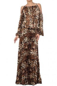 Full length animal print dress with cutout sleeves #salediem wants you to ROAR!Enjoy your #animalprint #fall#fashion Shipping is FREE!