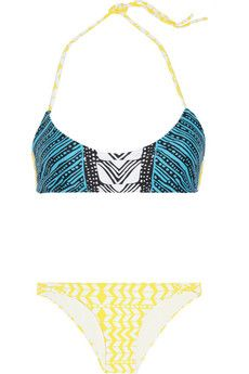 Mara Hoffman bikini. Blue and yellow swimsuit.