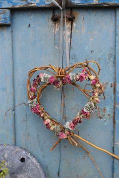 Heart wreath. Love the blue colour of the door