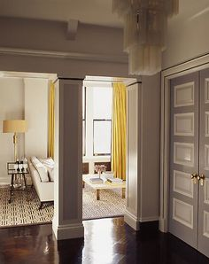WSH loves the yellow curtains in this Steven Gambrel interior. Living Room Designs, Living Spaces, Yellow Curtains, Urban Loft, Gambrel, Interior Decorating, Interior Design, Eclectic Design, Painted Doors