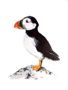 "Puffin Watercolour Art Prints Greeting Card 13x18cm 7x5"" A5 size Nancy Antoni funny wildlife pengiun artic arctic nord south pole winter zoo by NancyAntoniArt on Etsy https://www.etsy.com/uk/listing/511406317/puffin-watercolour-art-prints-greeting"