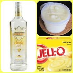 Lemon Sorbet Pudding Shots 1 small Pkg. lemon instant pudding ¾ Cup Milk 3/4 Cup Smirnoff lemon sorbet vodka 8oz tub Cool Whip Directions 1. Whisk together the milk, liquor, and instant pudding mix in a bowl until combined. 2. Add cool whip a little at a time with whisk. 3.Spoon the pudding mixture into shot glasses, disposable shot cups or 1 or 2 ounce cups with lids. Place in freezer for at least 2 hours Pudding Shot Recipes, Jello Pudding Shots, Jello Shot Recipes, Alcohol Drink Recipes, Jello Shots, Lemon Vodka, Lemon Jello, Lemon Sorbet