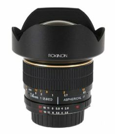 Rokinon FE14M-N 14mm F2.8 Ultra Wide Lens for Nikon (Black) by Rokinon. $354.00. From the Manufacturer                      The NEW ROKINON 14mm Ultra-Wide Angle F/2.8 IF ED UMC Lens is the highest quality affordably priced 14mm lens on the market. It is designed for full frame cameras and is fully compatible with APS-C cameras as well. Its build and construction are superb! The lens construction is 14 elements in 12 groups and features 2 ED lens elements, one hybrid ...