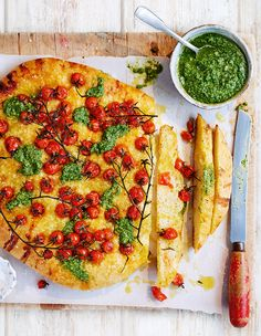 This fluffy focaccia recipe, made with vine tomatoes and fresh pesto, is a staple in Theo's restaurant at the InterContinental London Park Lane.