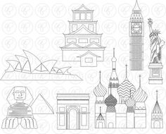 World Landmarks Line Art (set Digital Clip Art: Sydney Opera Statua Liberty Big Ben Sphinx Hiroshima Castello St Basil Travel St Basil's, Arts Ed, Hiroshima, Teaching Materials, Paper Design, Line Art, Birthday Invitations, Big Ben, Screen Printing