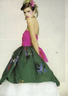 Documented S/S 1980 Christian Dior Gypsy Strapless Gown Dress on Gia Carangi #ChristianDior #Bubble #Casual