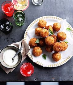 Provolone piccante arancini with thyme and garlic aioli - Gourmet Traveller