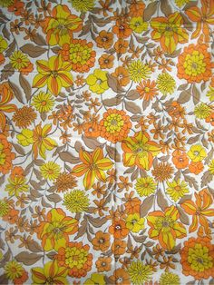 Mums and Pansies Vintage Fabric Cotton