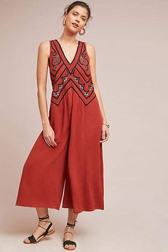 8302fab760f6 Maeve Desert Embroidered Jumpsuit  ad High Wasted Jeans