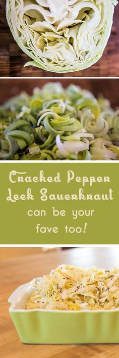 Cracked Pepper Leek Sauerkraut - a delicious recipe you can easily make. So good, it won't be the only time you make it! Superfood, Fermentation Recipes, Roh Vegan, Sauerkraut Recipes, Vegetarian Cabbage, Thing 1, Cracked Pepper, Easy Food To Make, Fermented Foods