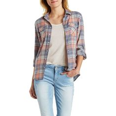 Charlotte Russe Plaid Snap Button Shirt ($25) ❤ liked on Polyvore featuring tops, orange combo, orange top, long sleeve shirts, orange shirt, tartan plaid shirt and charlotte russe tops
