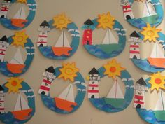 Best ocean art for kids crafts 31 ideas Boat Crafts, Ocean Crafts, Camping Crafts, Summer Crafts For Kids, Art For Kids, Summer Art Projects, Summer Ideas, School Projects, Toddler Crafts