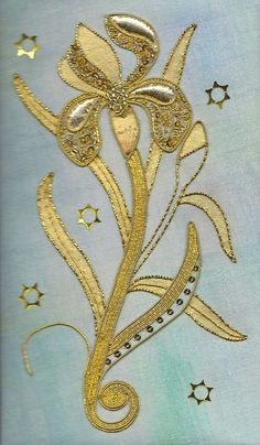 Iris ~ gold embroidery by Kathleen Laurel Sage