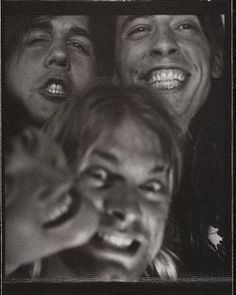 Rare records the release of Nevermind, Nirvana album. Kurt Cobain, Dave Grohl, Krist Novoselic  and ex-wife Shelly Hykas.