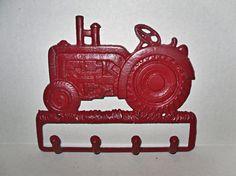 Tractor Wall Decor / Cast Iron Wall Hook / Coat Rack / Boys Room / Red Tractor. $25.99, via Etsy.