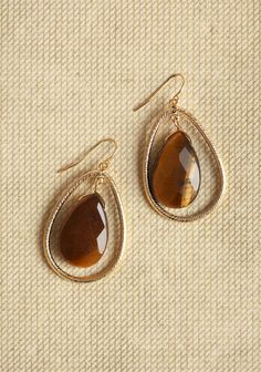 brown gem stone drop earring by ruche
