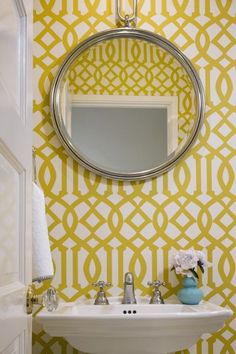 graphic wallpaper in a small bathroom. Not a fan of wallpaper but go for it and be creative in a small powder room. Trellis Wallpaper, Bold Wallpaper, Bathroom Wallpaper, Geometric Wallpaper, Graphic Wallpaper, Wallpaper Ideas, Mustard Wallpaper, Paint Wallpaper, Wallpaper Designs