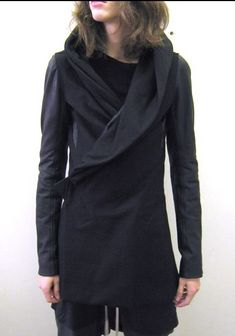 Rick Owens Hooded Samurai Coat With Leather Sleeves